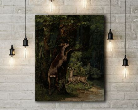 Gustave Courbet: Deer in the Forest. Fine Art Canvas.